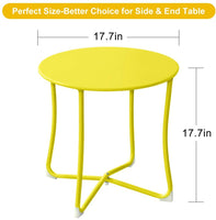 "Amagabeli Metal Patio Side Table 18"" x 18"" Heavy Duty Weather Resistant Anti-Rust Outdoor End Table Small Steel Round Coffee Table Yellow"