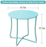 "Amagabeli Metal Patio Side Table 18"" x 18"" Heavy Duty Weather Resistant Anti-Rust Outdoor End Table Small Steel Round Coffee Table Mint Green-patio side table-Amagabeli"