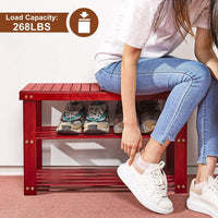 Camabel Shoe Rack Bench 3-Tier Bamboo Shoe Organizer Storage Shelf Hold Up 268 Lbs for Entryway