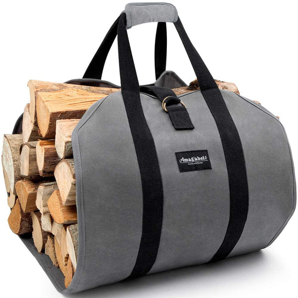 Amagabeli Log Carrier Bag Canvas Log Tote Fireplace Firewood Storage Bag Woodpile Rack Fire Wood Carriers Carrying Bag-Fireplace log holder-Amagabeli