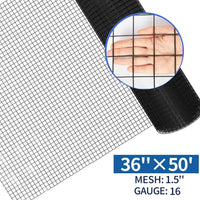 Amagabeli 36inch x 50ft Hardware Cloth 1.5 inch Square 16 Gauge Black Vinyl Coated Welded gareden Fence Mesh Roll Protect Chickens Rabbits-Hardware Cloth-Amagabeli