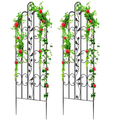 "Amagabeli Garden & Home Bird Garden Trellis GTP005 71"" x 21"" Heavy Duty Rustproof Black Iron Plant Trellis for Potted Plant Support Tall Wall Metal Trellis for Rose Vine Vegetable Cucumber-Trellis-Amagabeli"