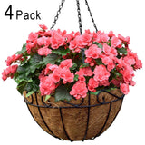 4 Pack 14 Inch Metal Hanging Planter Basket