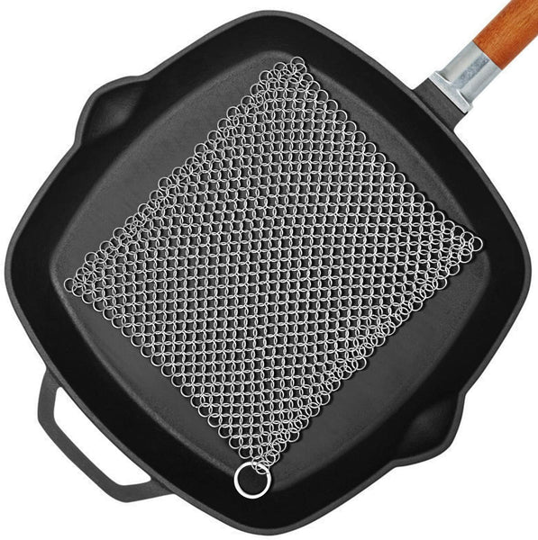 "Amagabeli 8"" x 8"" 316 Stainless Steel Cast Iron Cleaner Chainmail Scrubber for Cast Iron Pan Skillet Cleaner for Dishes Glass Pre-Seasoned Cast Iron Pot Seasoning Protection Cookware Accessories-Cleaning Tools-Amagabeli"