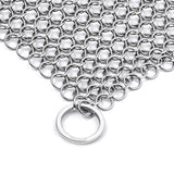 "Stainless Steel Cast Iron Cleaner 8""x6"" 316L Chainmail Scrubber Pan Scraper By Amagabeli"