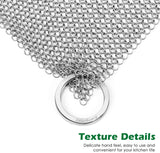 "Amagabeli 7""x7"" Cast Iron Cleaner Mesh Premium 316 Stainless Steel Small Rings with 3.8mm Opening Chainmail Scrubber for Cast Iron Pans Pre-Seasoned Pan Dutch Oven Waffle Iron Pans Skillet Cleaner-Cleaning Tools-Amagabeli"