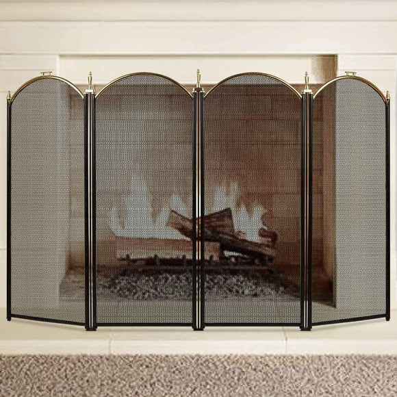 Large Gold Fireplace Screens 4 Panel by Amagabeli