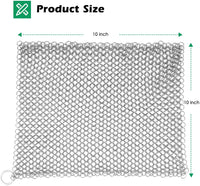 "Amagabeli 10"" x 10"" 316 Stainless Steel Cast Iron Cleaner Chainmail Scrubber for Cast Iron Pan Skillet Cleaner for Dishes Glass Pre-Seasoned Cast Iron Pot Seasoning Protection Cookware Accessories-Cleaning Tools-Amagabeli"