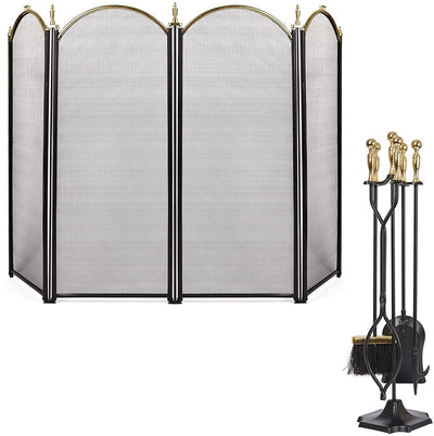 Amagabeli 5 Pcs Large Fireplace Tools+ Large Gold Fireplace Screen 4 Panel-Fireplace bundle-Amagabeli