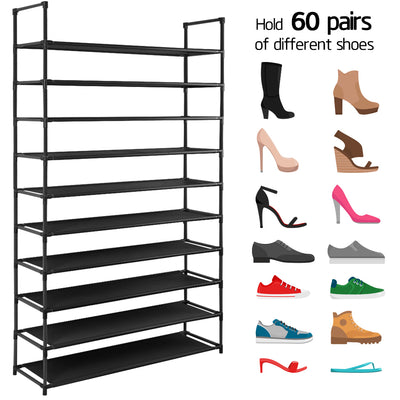Camabel 10 Tiers Rack Shelves For 60 Pairs Non-Woven Fabric Storage Organizer Cabinet Tower Shelf Black-shoe rack-Amagabeli