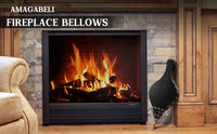 "Amagabeli Fireplace Bellows 17""x 7.5"" Large Wood Air Blower Cast Nozzle for Outdoor-Fireplace Bellows-Amagabeli"