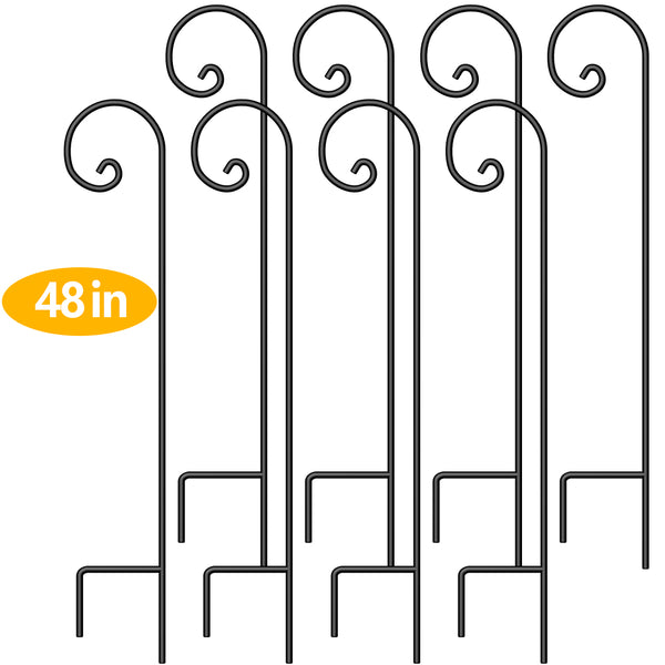 BEAU JARDIN 8 Pack Shepherd Hook 48 Inch 2/5 Inch Hummingbird Bird Feeder Pole Garden Outdoor Hanging Plants Basket Pathway Light Wedding Decor Metal-Shepherd Hook-Amagabeli