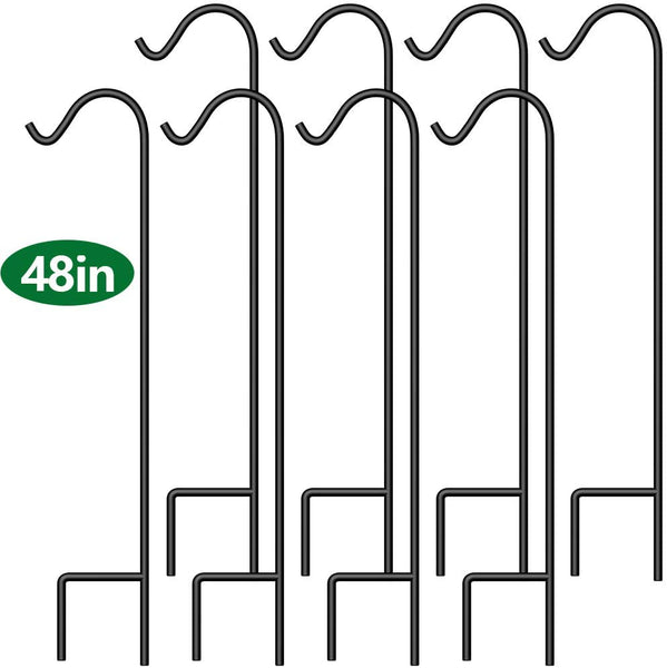BEAU JARDIN 8 Pack Shepherd Hook 48 inch 2/5 inch Thick Premium Heavy Duty Rust Resistant Garden Outdoor Hanging Plants Basket Pathway Light Wedding