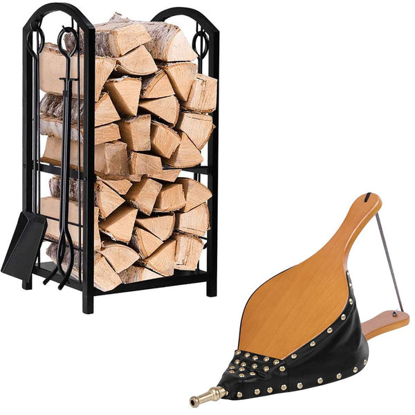 "Amagabeli Firewood Rack Fireplace Tool Bundle Wood Fireplace Bellows 19""x 8"" Large-Fireplace bundle-Amagabeli"
