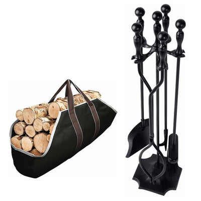 Amagabeli Large Canvas Firewood Carrier Log Tote Bundle 5 Pcs Fireplace Tools Sets Black Handle-Fireplace bundle-Amagabeli
