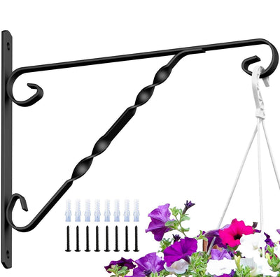 Amagabeli 4 Pack Hanging Plants Brackets 12'' Wall Planter Hooks Hangers for Flower Pot Bird Feeder Wind Chimes Lanterns Patio Lawn Indoor Outdoor-Plant Hook-Amagabeli