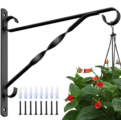 Amagabeli 4 Pack Hanging Plants Brackets 10'' Wall Planter Hooks Hangers for Flower Pot Bird Feeder Wind Chimes Lanterns Patio Lawn Indoor Outdoor-Plant Hook-Amagabeli