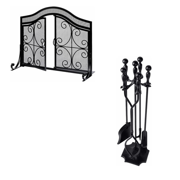 Amagabeli 5 Pcs Fireplace Tools Sets Black Bundle Amagabeli Fireplace Screen with Doors-Fireplace bundle-Amagabeli