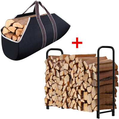 Amagabeli 4ft Firewood Rack + Large Canvas Firewood Carrier Log Tote-Fireplace bundle-Amagabeli