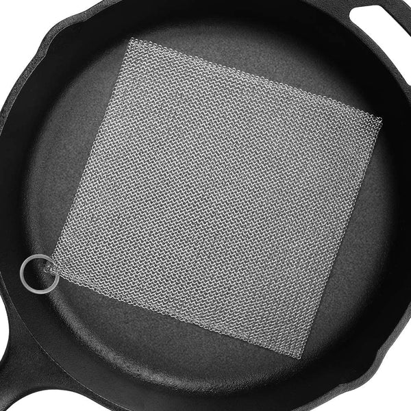 "Amagabeli 8""x8"" Cast Iron Cleaner Mesh Premium 316 Stainless Steel Small Rings with 3.8mm Opening Chainmail Scrubber for Cast Iron Pans"