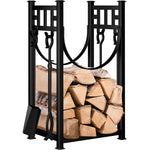 Amagabeli Fireplace Log Rack with 4 Tools Fireside Indoor Firewood Holders Lumber-Fireplace Log Rack with tools-Amagabeli