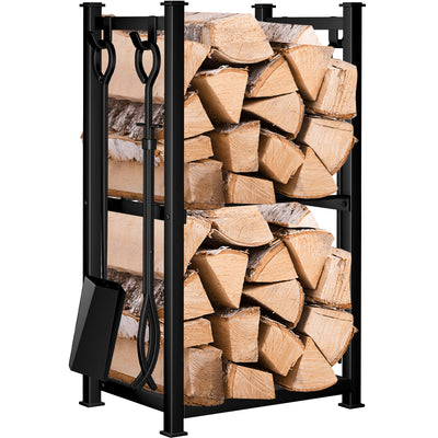 Amagabeli Fireplace Log Rack with 4 Tools Indoor Outdoor Firewood Holders Lumber Storage-Fireplace Log Rack with tools-Amagabeli