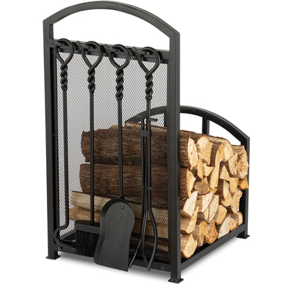 Amagabeli Fireplace Log Holder Rack with 4 Tools Wrought Iron Firewood Lumber Storage-Fireplace Log Rack with tools-Amagabeli