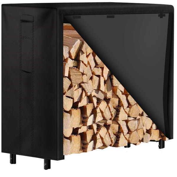 Amagabeli 4ft Firewood Rack with Waterproof Cover Combo Set Outdoor Log Holder for Fireplace-Firewood Rack and Cover-Amagabeli