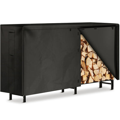 Amagabeli 8ft Firewood Rack with Waterproof Cover Combo Set Outdoor Log Holder for Fireplace-Firewood Rack and Cover-Amagabeli