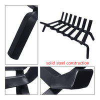 "Amagabeli Black Wrought Iron Fireplace Log Grate Heavy Duty Solid Steel Indoor Chimney Hearth 3/4"" Bar Fire Grates-Fireplace Grate-Amagabeli"