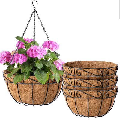 4 Pack 10 inch Metal Hanging Planter Basket by Amagabeli-Hanging Planters-Amagabeli