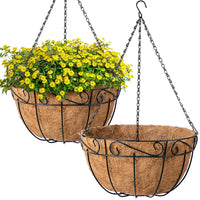 Metal Hanging Planter Basket with Chain, 4 Packs 12 Inch-Hanging Planters-Amagabeli