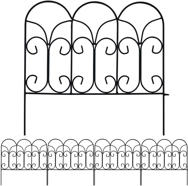 Garden Fence Panels 18in x 7.5ft  Rustproof Metal Fence by Amagabeli