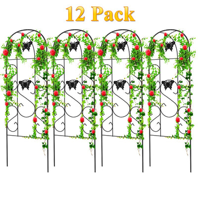 "60"" x 18"" Rustproof Black Iron Butterfly Garden Trellis (No Rose) by Amagabeli 12 Pack-Trellises-Amagabeli"