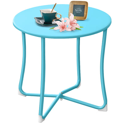 "Metal Patio Side Table 18"" x 18"" Heavy Duty Weather Resistant Anti-Rust Outdoor Table Small Steel Porch Table Light Blue-Patio side table-Amagabeli"