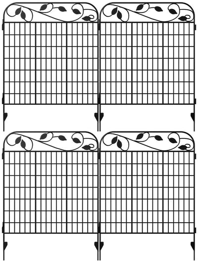 "Amagabeli Metal Garden Fence Border 44""x 36""x 4Pack Heavy Duty Tall Rustproof Decorative Garden Fencing Panels-Decorative Fences-Amagabeli"