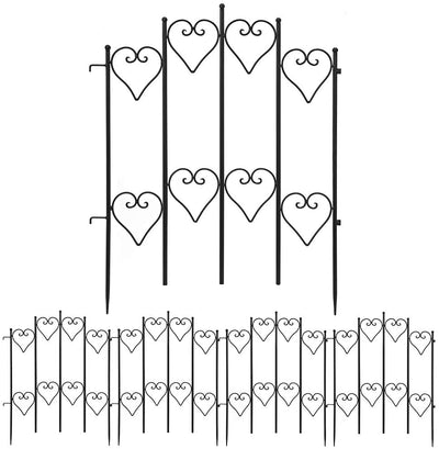 Amagabeli Decorative Garden Fence 27inx9ft Outdoor Coated Rustproof Metal Garden Fencing Panel Animal Barrier Iron Folding Edge Wire Border Fence-Decorative Fences-Amagabeli