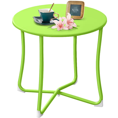 "Amagabeli Metal Patio Side Table 18"" x 18"" Heavy Duty Weather Resistant Anti-Rust Outdoor End Table Small Steel Round Coffee Table Lime Green-Patio side table-Amagabeli"