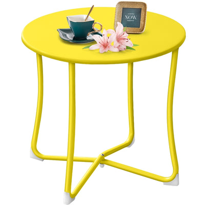 "Amagabeli Metal Patio Side Table 18"" x 18"" Heavy Duty Weather Resistant Anti-Rust Outdoor End Table Small Steel Round Coffee Table Yellow-Patio side table-Amagabeli"