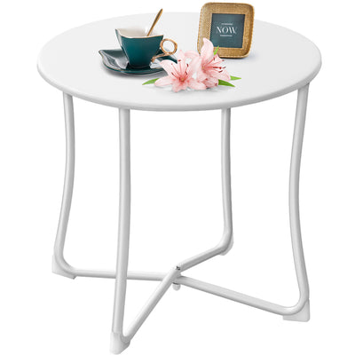 "Amagabeli Metal Patio Side Table 18"" x 18"" Heavy Duty Weather Resistant Anti-Rust Outdoor End Table Small Steel Round Coffee Table White-Patio side table-Amagabeli"