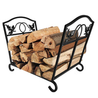 Fireplace Toolset Log Holder Wrought Iron Indoor Fire Wood Stove-Log Holder & Carrier-Amagabeli