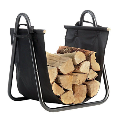 Fireplace Log Holder with Canvas Tote Carrier Indoor Fire Wood Rack-Fireplace log holder-Amagabeli