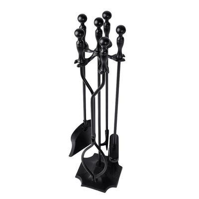 Amagabeli 5PCS Fireplace Tools Sets Wrought Iron Tool Set and Holder Outdoor Fireset Fire Pit Stand Rustic Tongs Shovel Antique Brush Chimney Poker-Fireplace Tools-Amagabeli