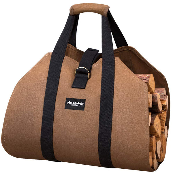 Firewood Log Carrier Waxed Canvas Wood Tote Bag-Log Holder & Carrier-Amagabeli