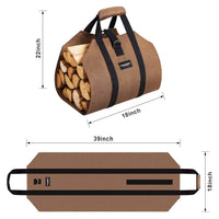 Firewood Log Carrier Waxed Canvas Wood Tote Bag-Fireplace log holder-Amagabeli