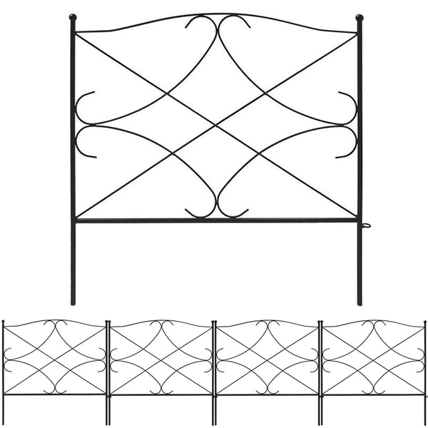 Amagabeli Garden & Home Decorative Garden Fence GFP007 Outdoor 5 Panels Fence 24in x 10ft-Decorative Fences-Amagabeli