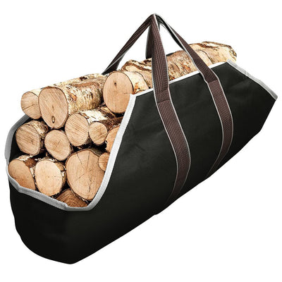 Large Canvas Log Tote Bag Carrier Indoor Fireplace Firewood Totes Holders-Fireplace log holder-Amagabeli