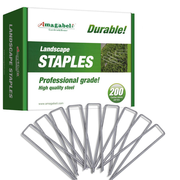 Galvanized Landscape Staples 6-Inch 200 Pack by Amagabeli-Landscape Staples-Amagabeli