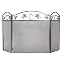 Amagabeli 3Panel Pewter Wrought Iron Fireplace Screen Metal Decorative Mesh Cover Solid Baby Safe Proof Fireplace Fence Leaf Design Steel Spark Guard-Fireplace Screen-Amagabeli