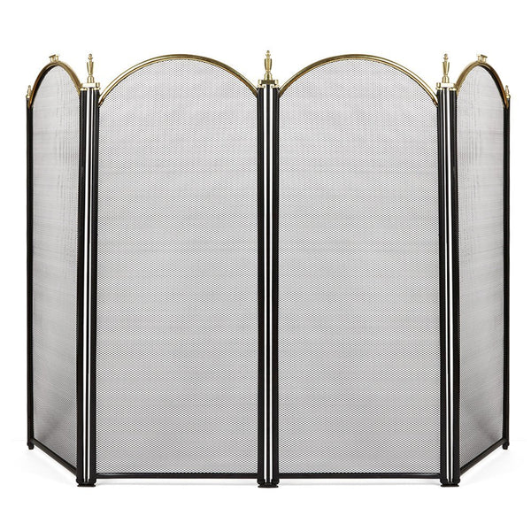 Amagabeli Large Gold Fireplace Screen 4 Panel Ornate Wrought Iron Black Metal Fire Place Standing Gate Decorative Mesh Solid Baby Safe Proof Fence-Fireplace Screen-Amagabeli